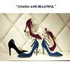 A120-6 2016big size blue fashion citi trends point toe ladies high heel shoes