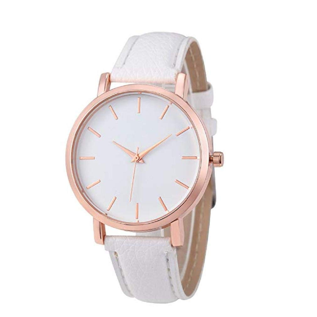 Women Quartz Watches,Windoson Unique Analog Fashion Clearance Lady Watches Female Watches Casual Watches for Women,Round Dial Case Comfortable PU Leather Watch (White)
