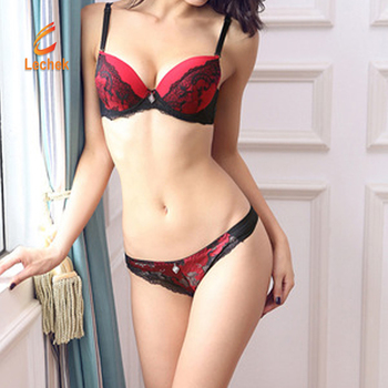 b2bdb2f603a17 French Female Underwear Women Bra Set Embroidery Sexy transparent lace bra  and panty set plus size