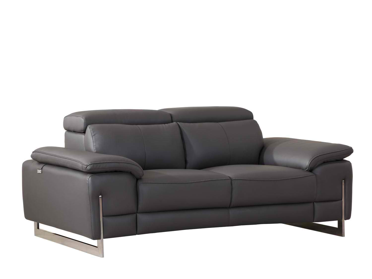 "Blackjack Furniture 636-DARK-GRAY-L Ellison Italian Leather Upholstered Sofa, 70.5"", Dark Gray"