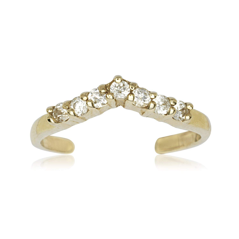 14k Yellow Gold Cubic Zirconia Adjustable V Shape Body Jewelry Toe Ring