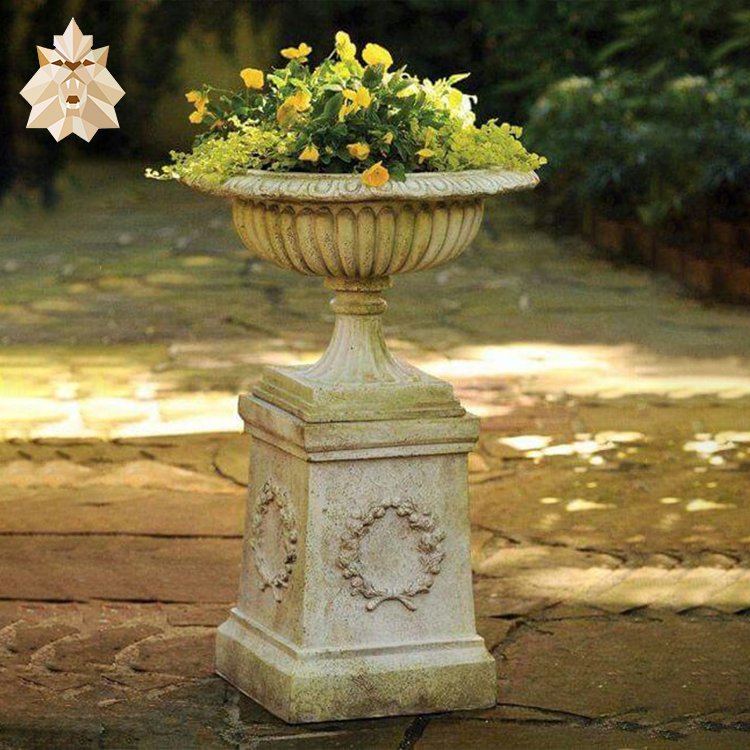 Antique garden decoration using natural stone flower pot white marble flower pot with carved woman statue