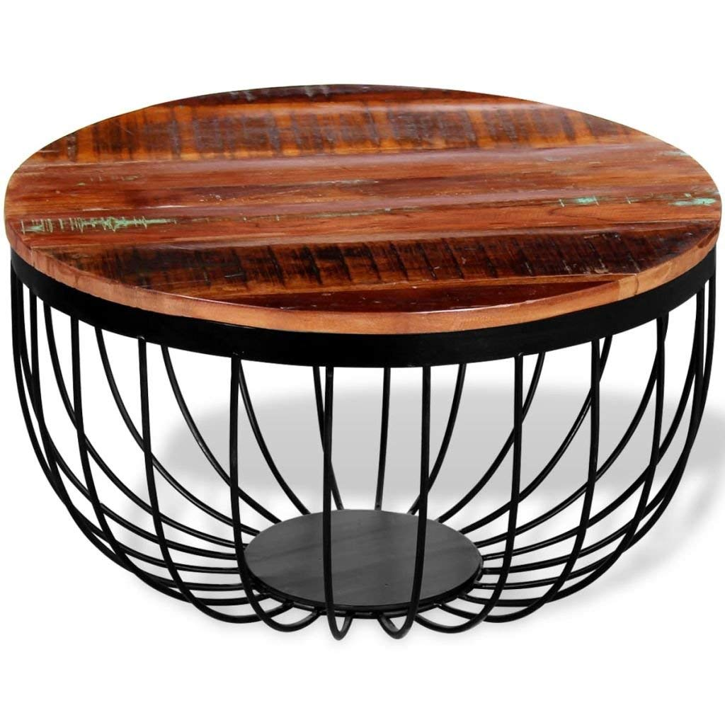 """Festnight Industrial Style Round Coffee Table Vintage Table Solid Reclaimed Wood 23.6"""" x 13.8"""""""