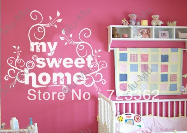my sweet home vinyl wall lettering stickers quotes vinyl wall room decal stickervinyl wall. Black Bedroom Furniture Sets. Home Design Ideas