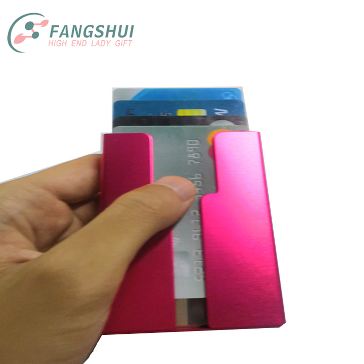 Personalized slide up metal visiting card holder in steel,security anti scan rfid aluminum credit bank card holder wallet