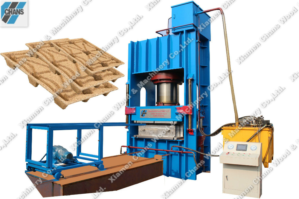 Prodcucing compressed sawdust chip wood pallet machine hot press