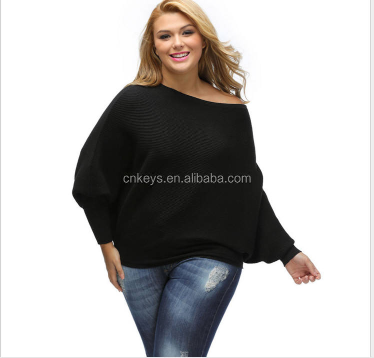 E0291A Fashion sexy shoulders a word bat long-sleeved loose knitting a sweater