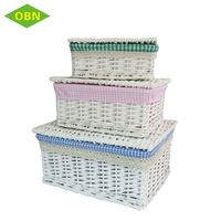 Cheap sets of 3 white rectangular wicker storage basket with lid