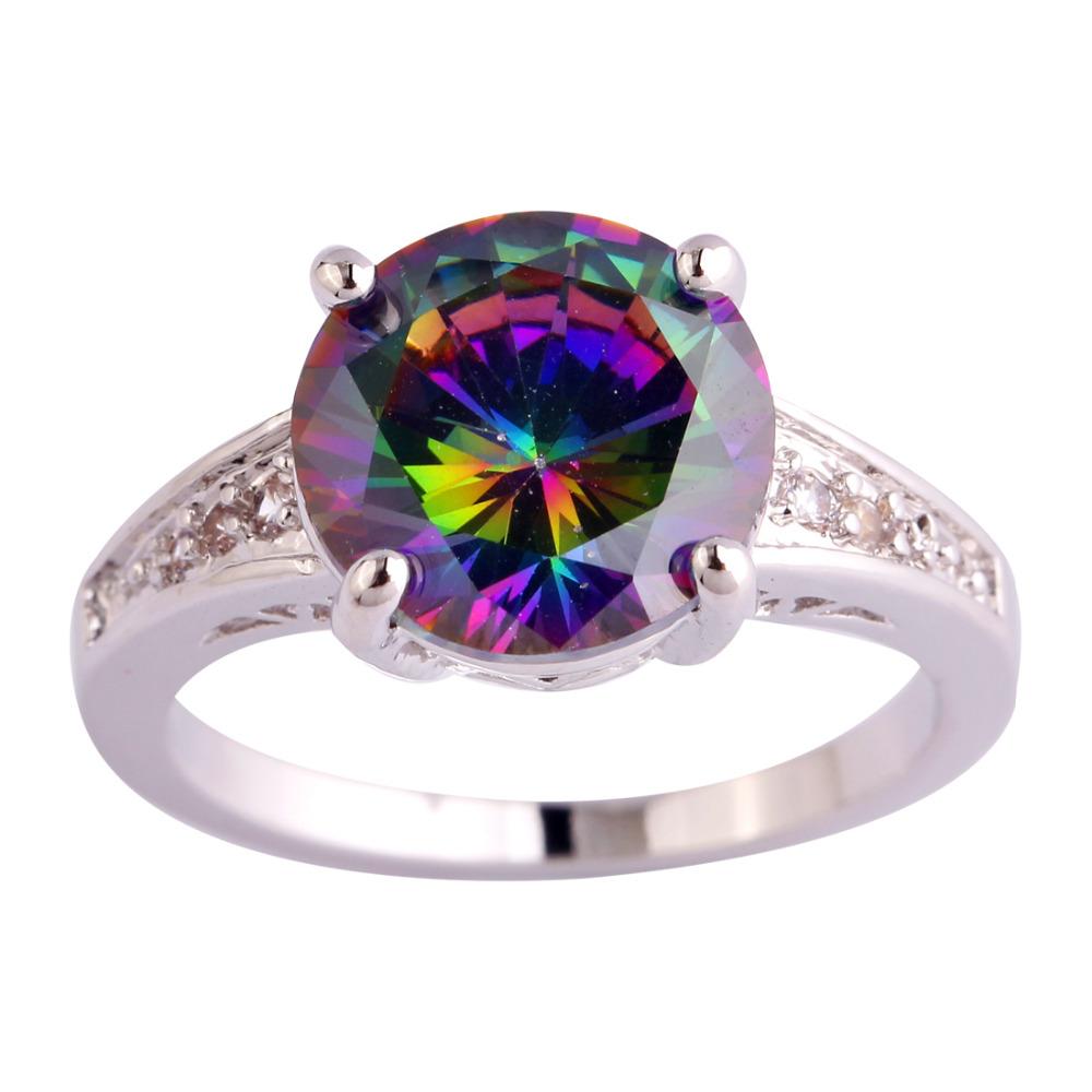 Оптовая продажа обручальное свадебные круглый Cut радуга и белый сапфир 925 серебряное кольцо размер 6 7 8 9 10 11 12 женщины ювелирные изделия бесплатная доставка