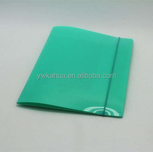 Office stationery transparent plastic document pp file folder with Elastic string closure