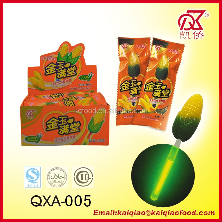 10g Corn Shape Glowing Stick Candy Lollipop