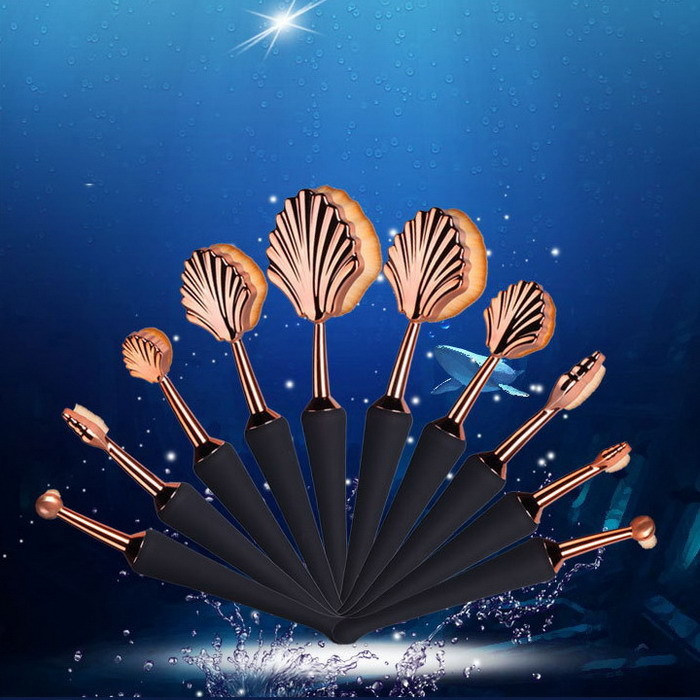 10 Pieces Best Quality 10PCS Seashell Shaped Oval Toothbrush Makeup Brush Set