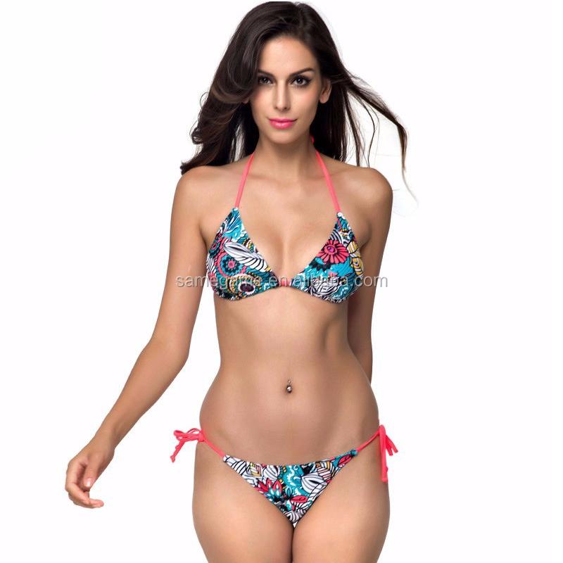 985b89ce82 2016 Sexy Girl Micro Bikini Swimwear Flower Printed Brazilian Bikini ...
