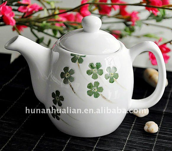 ceramic Japanese tea kettle with hand painting