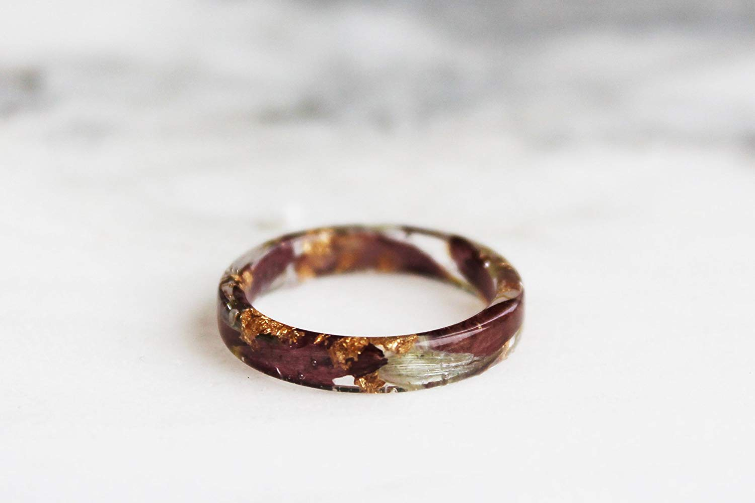 Nature Inspired Thin Resin Ring with Pressed Petals, Leaves and Gold/Copper/Silver Flakes