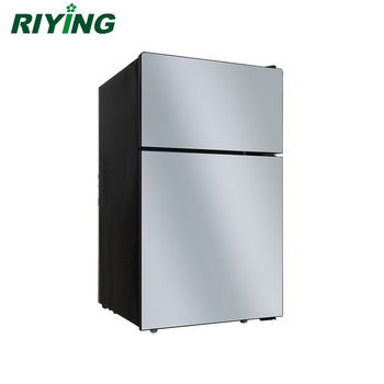 98l Double Door And Top Freezer Small Stainless Steel Refrigerator Bcd 98