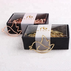 Funny rose gold bird shape metal paper clip for stationery,gift