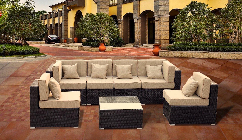 Luxury 7 Piece Modern Outdoor PE Wicker Patio Sofa Sectional Chair Furniture Set ...