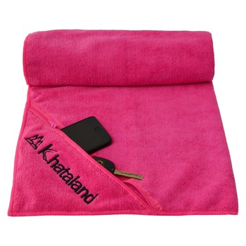 Microfiber sports towel with zip pocket cooling gym towel