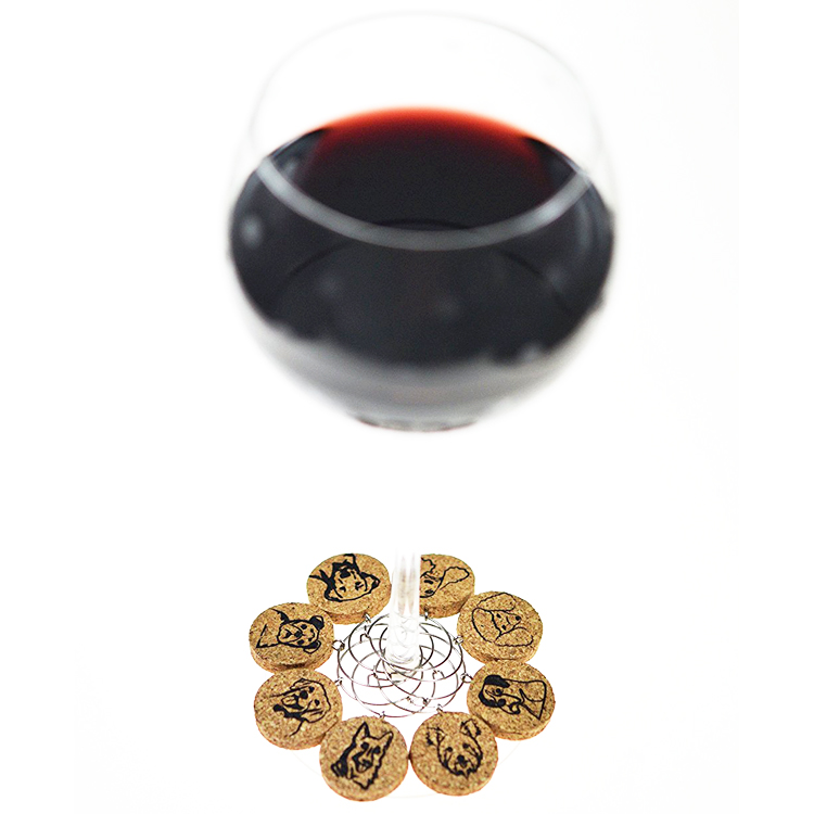 New year decoration different dog designs wine charms from cork