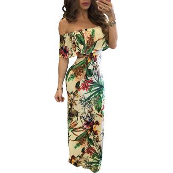 0554f2b90 Boho Botanic Print Off-a-ombro Maxi Hawaiian Vestidos On-line - Buy ...