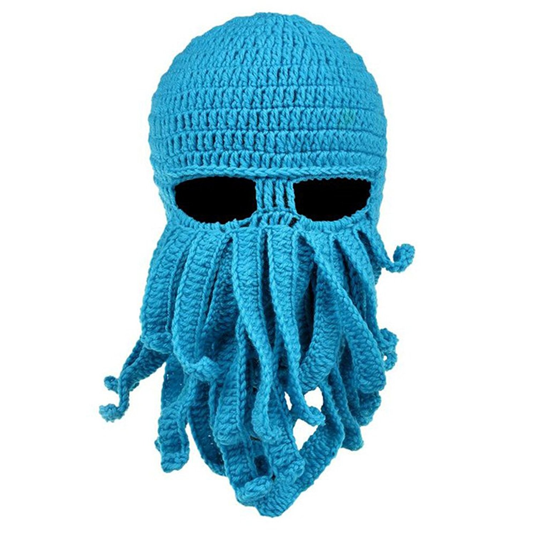302bee967d0 Winter Warm Octopus Hat Windproof Beard hat Funny Knit Cap Ski Mask for Men  and Women