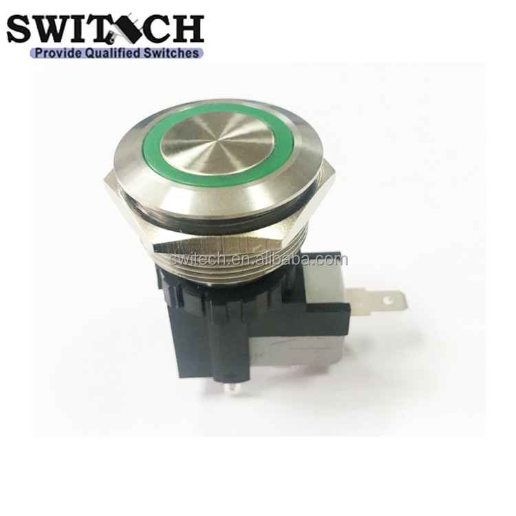 25A IP67 waterproof Illuminated metal Push Button <strong>Switch</strong> with 250 quick connector or wired