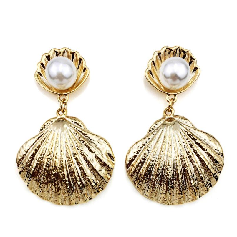 Big Fan Trendy Imitation Pearl Metal Shell Stud Earrings For Women Charm Jewelry Beach Boho Drop Earrings Statement Pendientes фото