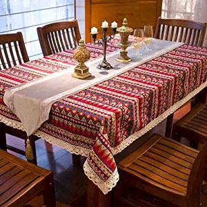 """Bohemian ethnic style lace tablecloth fabric European Mediterranean garden table cloths,European pastoral cloth tablecloths,living room coffee table dining Restaurant tablecloths Red XXXX-Large(55""""*86"""")"""