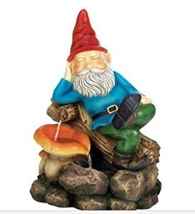 SKB Family Relaxing Gnome Water Fountain stony colorful mushroom outdoor