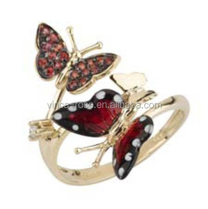 Two-tone plated fashion jewelry enamel butterfly ring