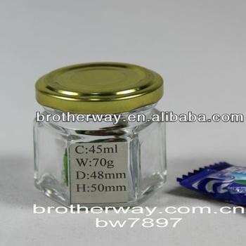 mini 45ml hexagonal glass jar little glass candy jar 3 oz glass jam