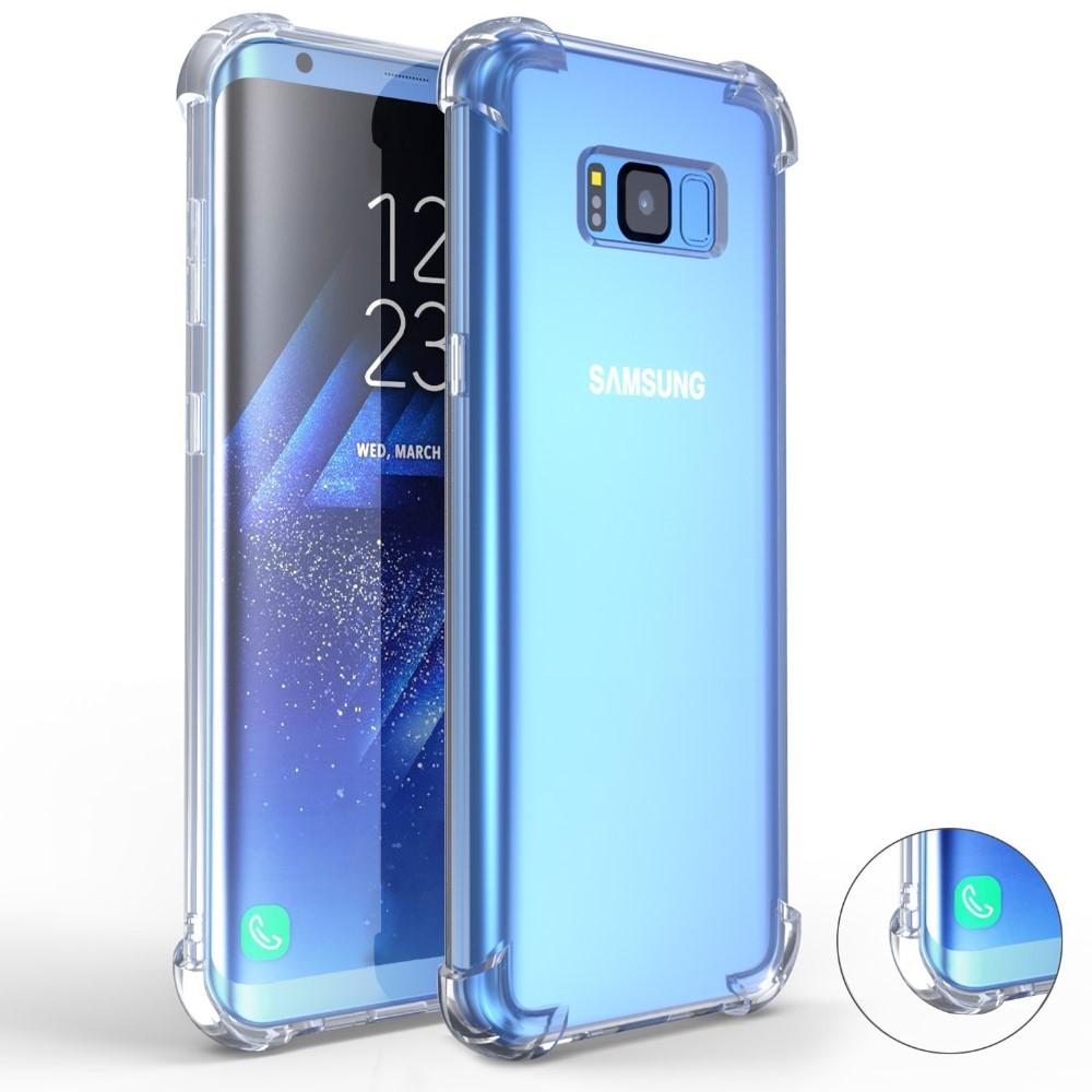 Para Samsung S8 caso, Gota cojín cristal claro suave TPU parachoques caso Delgado cubierta con biseles elevados para la galaxia S8