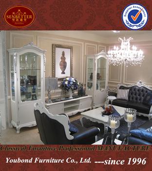 0036 Européenne Classique Blanc Argent Salon Verre Design Vitrine Tv ...