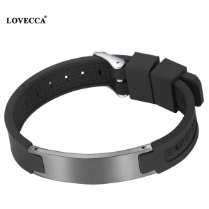 Men hot sale style magnetic ion magnetic bracelet black silicone band power bracelet