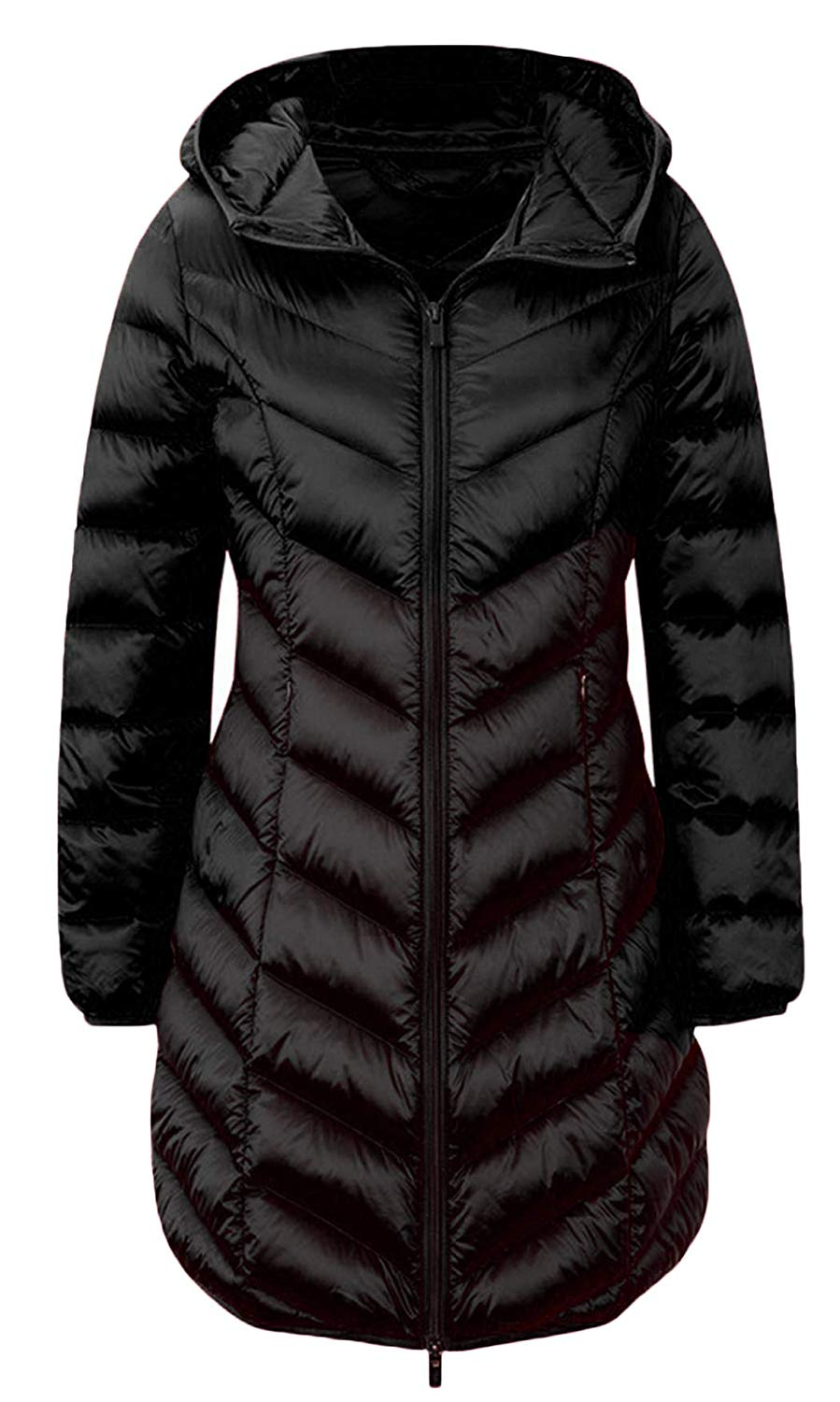 4c979ee6618 Get Quotations · PWYXSA Women s Lightweight Hooded Long Down Outerwear  Puffer Jacket Coat Windbreaker Outdoor Quilted Down Parka Jacket