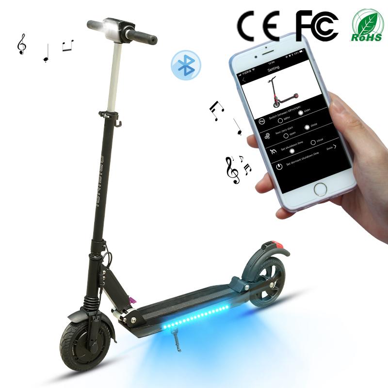 8.5 350W 30KM range foldable electric scooter smart app lock bt music speaker Germany europe warehouse drop shipping
