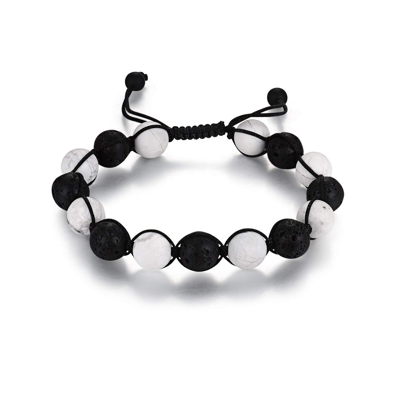 Haskare Buddha Bracelets Lava Stone Howlite 10mm Natural Healing Stone Beads Bracelet Adjustable