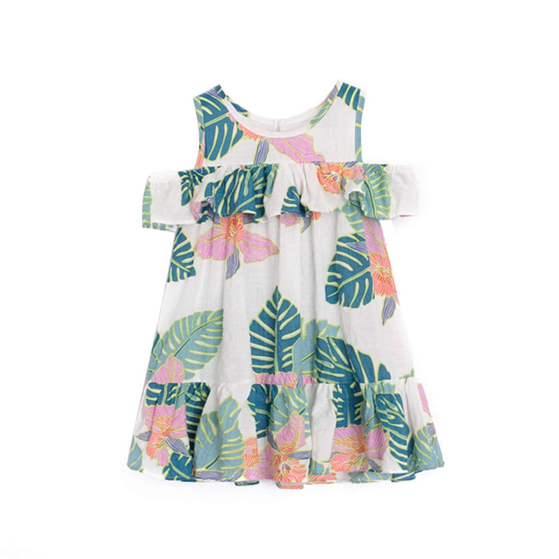 Nerefy Girls Summer Dresses Ruffles Beach Casual Dresses Kids Baby Clothes Chiffon Dresses