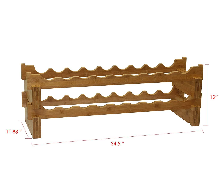 18-Bottle Stackable Bamboo Wine Rack wall mounted wine rack foe wholesale 3