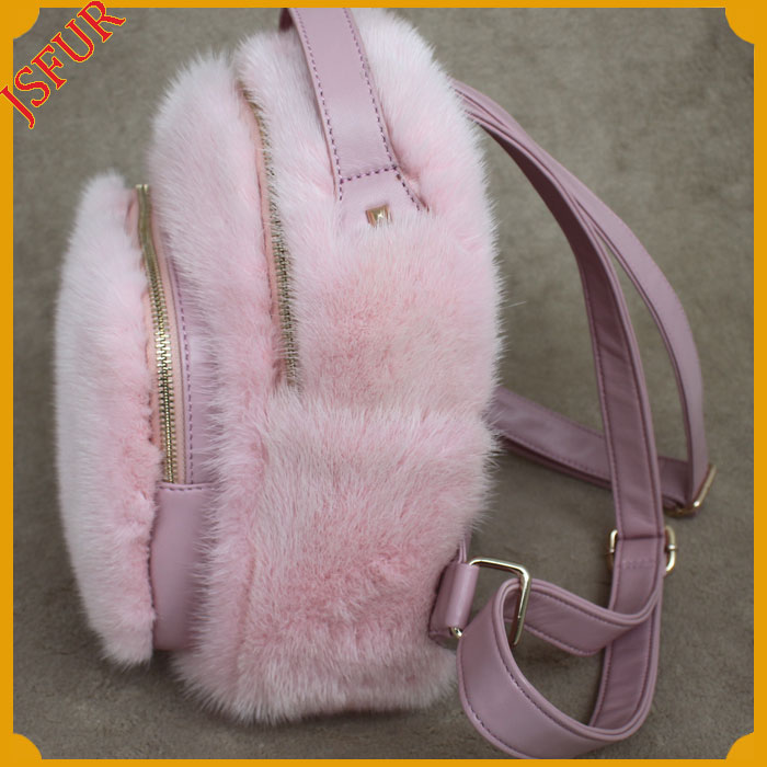 Baby Pink Women Backpack Wholesale Hand Made Mink Bag