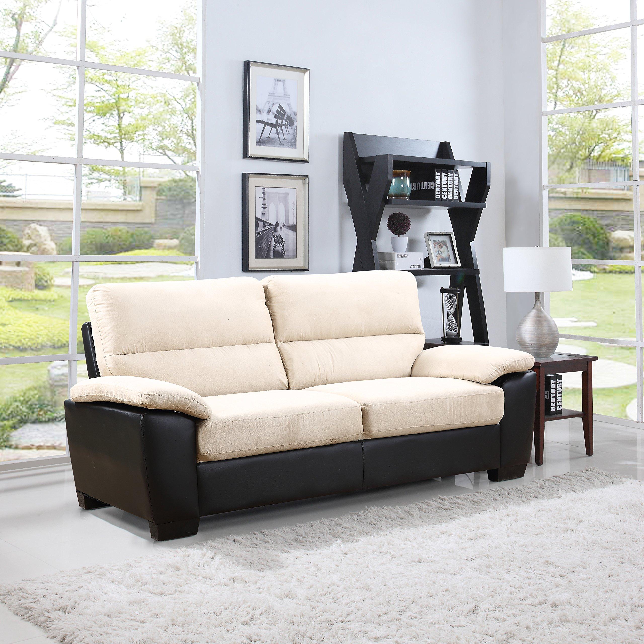 Madison Home Divano Roma Classic Soft Microfiber and Bonded Leather Living Room Furniture (Sofa, Beige)