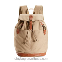 custom design canvas backpack leather and canvas backpack bag