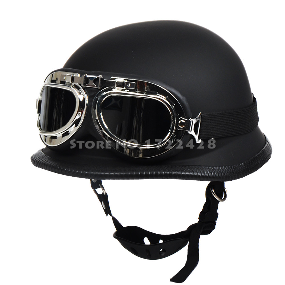 wwii german style vintage motorcycle helmet capacete casco casque moto motocicleta harley half. Black Bedroom Furniture Sets. Home Design Ideas