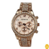 2016 New kors Gold staineless steel watches Luxury Brand Women Watch calendar diamond men geneva watches