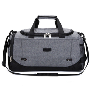 grey convertible business expand two compartment laptop sports duffel bag with bottle holder