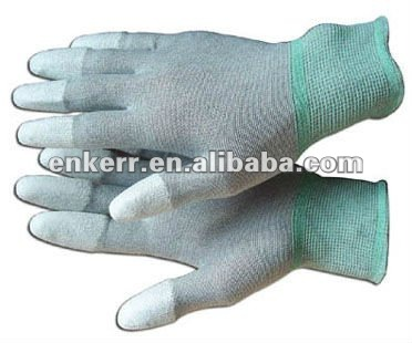 ESD white pu finger tip coated carbon glove,Anti-static PU coating gloves