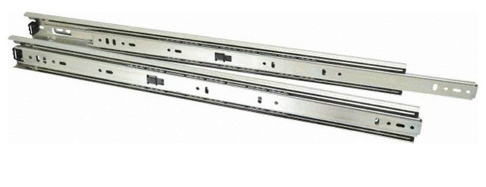 "20"" Slide Length, 20"" Travel Length, Steel Precision Drawer Slide, 1/2"" Wide, 1-13/16"" High, 100 Lb Capacity at Full Extension, Chrome Finish (2 Piece Set)"