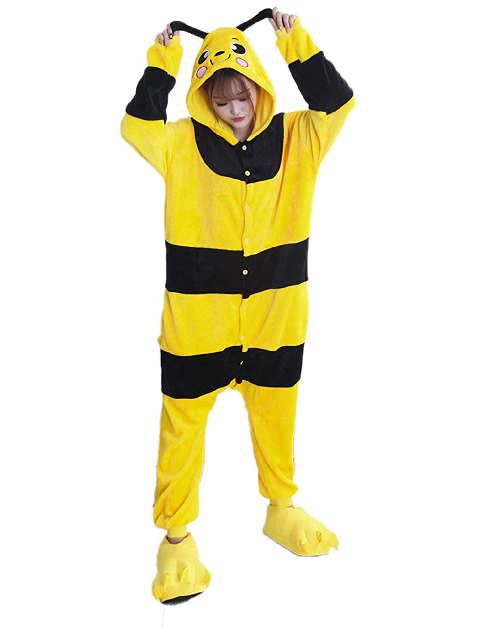 2be25e9acb94 Get Quotations · Vimans Onesie Pajamas Adult for Unisex Pajamas Yellow Bee  One Piece