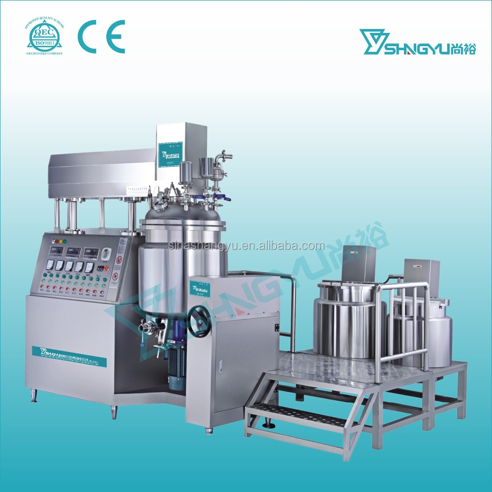 Stainless steel vacuum emulsifying mixer with vacuum and homogenizing function from china for body lotion